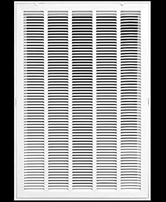 """20"""" X 30 Steel Return Air Filter Grille for 1"""" Filter - Fixed Hinged - Ceiling Recommended - HVAC Duct Cover - Flat Stamped Face - White [Outer Dimensions: 22.5 X 31.75]"""