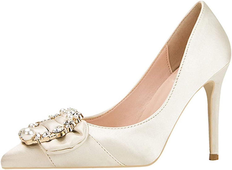 Crystal High Heels Women Elegant Pearl Stiletto Ladies shoes Pointed Toe Silk Wedding shoes