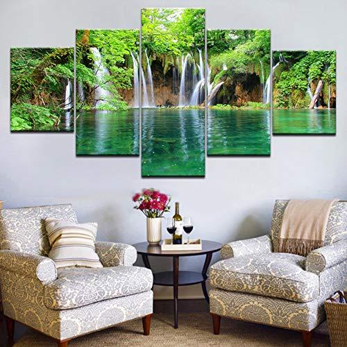 GHTAWXJ 5Panel HD Gedruckter Wasserfall im waldgrünen Wasser Landschaftsdruck auf Leinwand Kunstmalerei Für zu Hause Wohnzimmer