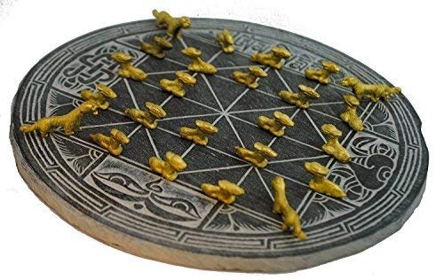 Handmade Slate Bagh Chal (Moving Tigers) Nepal Traditional Boardgame & Pieces