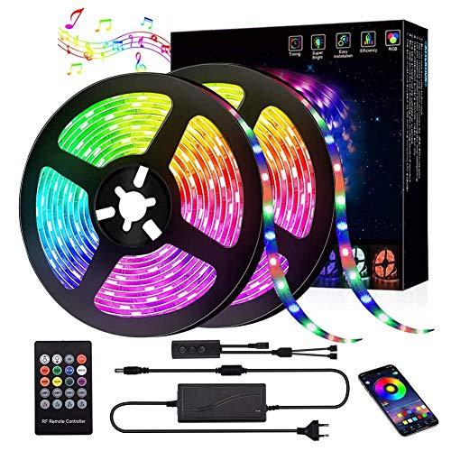RLBUNZ LED Strip 10m, LED Streifen Farbwechsel RGB Flexible LED Bänder Strips mit APP Bluetooth Kontroller Sync zur Musik Anwendung für Schlafzimmer Party Feriendekoration
