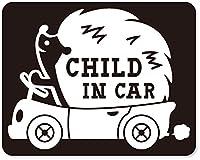 imoninn CHILD in car ステッカー 【マグネットタイプ】 No.37 ハリネズミさん (黒色)