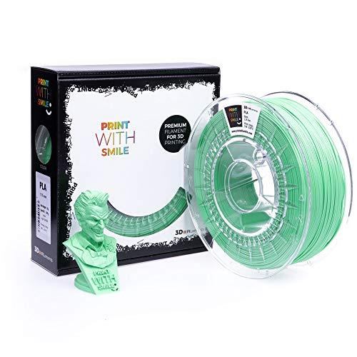 Print with Smile 3D Drucker PLA Filament | 1,75 mm für 3D Printer und 3D Stift | hochwertig Filament für 3D-Drucker und 3D-Pen 500 g (Light Green)