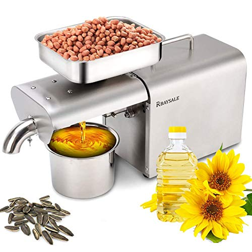 RBAYSALE 500W Oil Press Machine Home Automatic Oil Extractor Organic Oil Expeller for Avocado Coconut Castor Flax Peanut Canola Sesame Sunflower