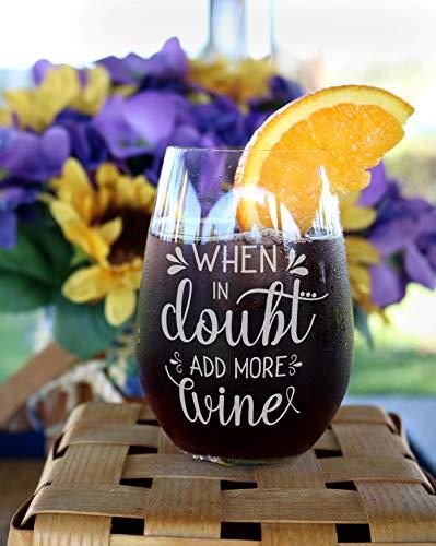 Bij twijfel voeg meer wijnglazen Grappig wijnglas grappig cadeau voor een paar wijn snob glas collega