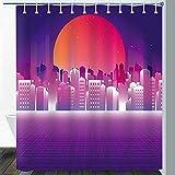 CJSZSD Nacht Neon Duschvorhang Retro Futuristic S Digitale Landschaft Cyber World Wave Musikalbum Japanisch Rot Sun Star Fantasy Galaxy Badezimmer Gardinen Set mitHaken 180x180cm