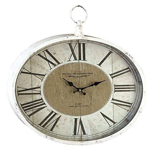 Large White Roman Numeral Wall Clock with Finial, 18 x 16