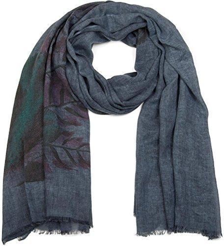 styleBREAKER Schal mit Feder Print im Boho Style, Fransen Tuch, Damen 01017066, Farbe:Dunkelblau