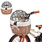 Cestino per Bici per Cani,Cestino per Animali Portatile per Biciclette con Cestello Portaoggetti Intrecciato con Telaio in Ferro, Borsa per La Spesa Staccabile Facile da Installare