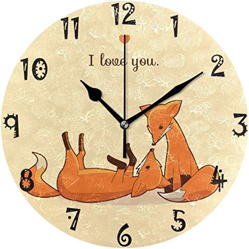 Reloj de pared redondo azalea store Art Cute Love Fox, con placa redonda silenciosa, para cocina, dormitorio, decoración del hogar