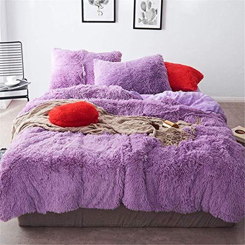 One Meter Sunshine 4 Piece Shaggy Plush Bedding Sets Comforter Cover Set, 1PC Fluffy Faux Fur Duvet Cover + 1PC Velvet Bed Flat Sheet + 2PCS Furry Pillow Shams, Zipper Closure (Lilac, Queen)