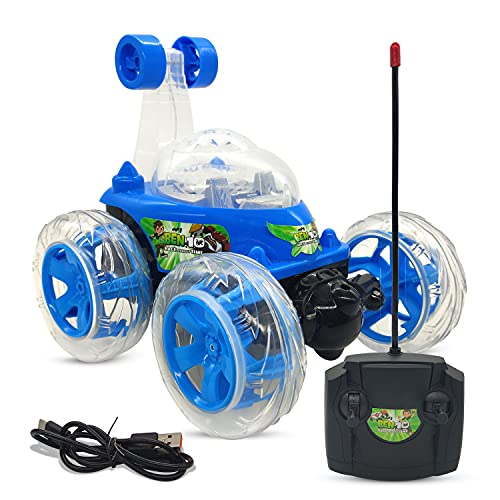NHR Remote Control Rechargable Acrobatic 360 Degree Twisting Stunt Car with Music & Lights and Charger for Kids (D-Blue).