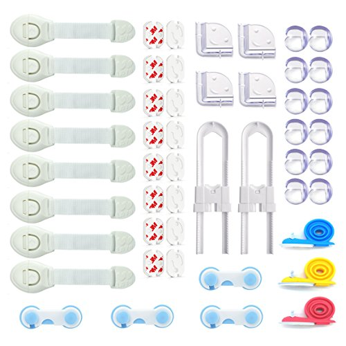 Kits de seguridad 49 Piezas Bebés Protección iZoeL 16x Protector de Enchufes, 16x Protecciones para esquinas, 12x Bloqueo de Seguridad, 2x U Armarios Seguridad, 3x Protector Puerta