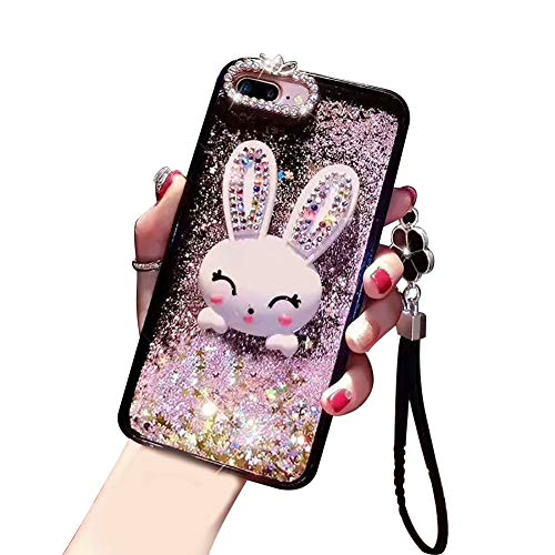 For Samsung Galaxy Note 9 Rabbit Case For Girl,Aearl Cute 3D Cartoon Bunny Design Hard Back Phone Cover,Luxury Bling Glitter Shiny Diamond Quicksand Liquid Sparkle Soft Bumper Hand Strap Rhinestone