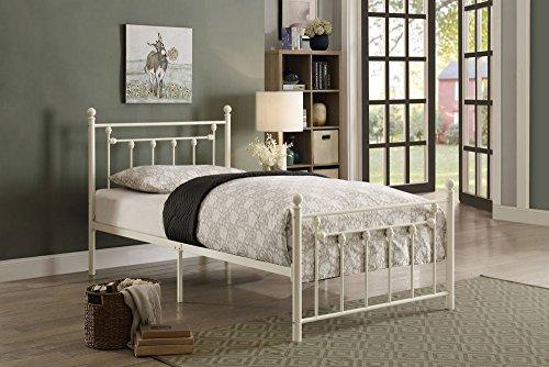Homelegance Lia Metal Platform Bed, Twin, White