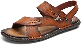 Sumuzhe Stylish and comfortable Men's Ankle Strap Sandals Open Toes Slippers Slip on Style Microfiber Leather Stitching Buckle Studs Closure Shoes Summer must (Color : Gold, Size : 42 EU)