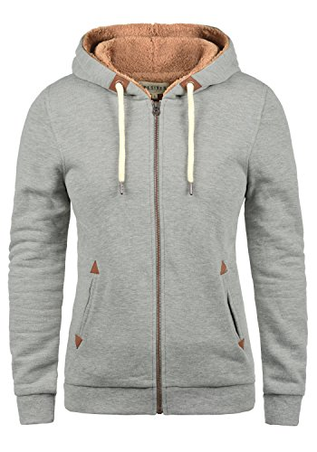 DESIRES Vicky Pile-Zip Damen Sweatjacke Cardigan Sweatshirtjacke Mit Teddy-Futter, Größe:XS, Farbe:Light Grey Melange (8242)