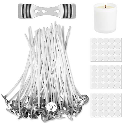 Candle Wick - Reastar 60 PCS Pre Waxed Wicks, Candle Wicks with 60 PCS Candle Wick Stickers and 1 PCS Wick Holder - for Candle Making, Candle DIY (3.9in/10cm)