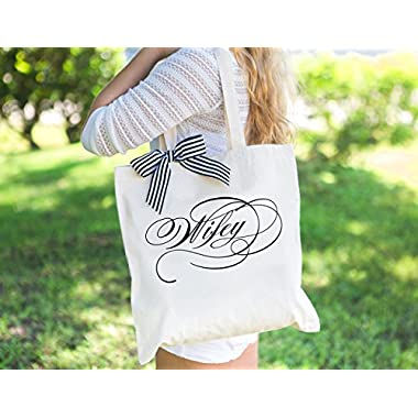 Wedding Bag for Bride or Newlywed Bridal Shower Wedding Gift, Canvas Tote Bag for Wifey, Gift for Wife Gift for Her