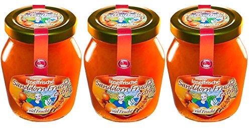3 Gläser Rügener Inselfrische Sanddorn Fruchtaufstrich pur mit extra viel Frucht, 220 g