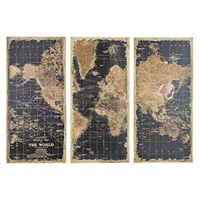 Aspire Stanford World Map Wall Decor (Set of 3), Black/Brown by Aspire Home Accents