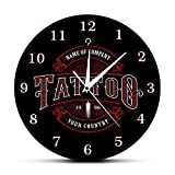 Tattoo Time Reloj de Pared Personalizado Tienda de tintas Tatuaje Pistola Artista Regalo Body Art Shop Studio Tattoo Logo Nombre de la Empresa Reloj de Pared Moderno-(sin Marco)