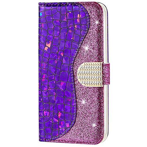 CTIUYA Schutzhülle für Huawei P30 Lite, Hülle Glitzer Handyhülle PU Leder Bling Luxus Handytasche Klapphülle Case Glänzend Diamant Magnet Flip Cover Ledertasche für Huawei P30 Lite,Lila