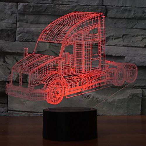3D Illusion Lampe Lkw-Styling Led Nachtlicht, Schreibtisch Am Bett Tischlampe 16 Farben Berührungsschalter Usb-Kabel Nachtlampe Für Home Decor Kinder Weihnachten Geburtstag Geschenke