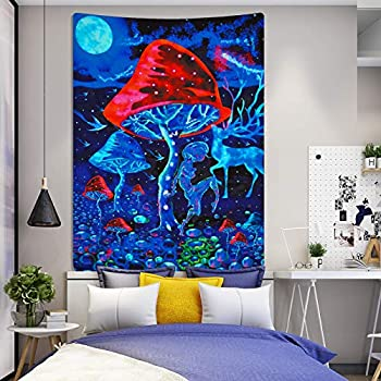 Lyacmy Psychedelic Mushroom Tapestry Trippy Poster Tapestry Colorful Ripple Psychedelic Tapestries Wall Hanging for Room 51.2 x 59.1 inches