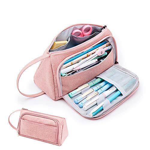 Estuche para lápices de Kalidi, gran capacidad, bolsa para lápices de escuela, papelería, maquillaje con asa para estudiantes, universidad, suministros de escuela media y oficina (Rosa)