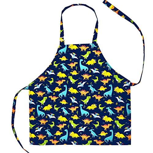 Galoker Kids Apron Dinosaur Apron Adjustable Neck Strap Children Kitchen Chef Apron with Pocket Boys and Girls Cooking Baking Painting and Party
