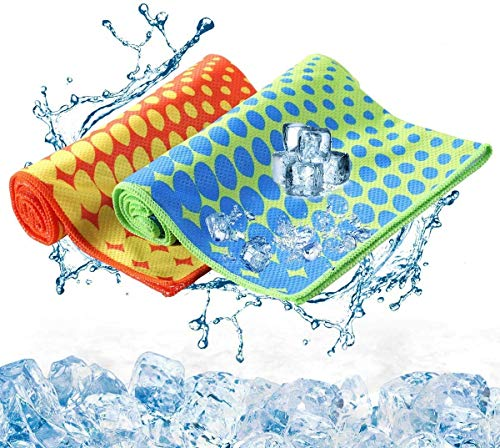 Sport Cooling Towel 2 Pack Stay Cool Ice Water Chilly Towels for Sports Swimming Women Men Camping Yoga Workout Fitness Gym Neck Golf 40 x 12 Inch (Blue Green + Orange Yellow)