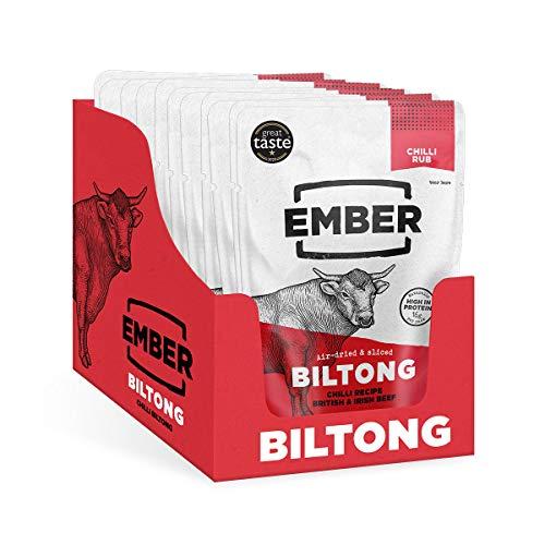 Ember Biltong - Chilli Beef Jerky - Bœuf Séché - Snack Riche en Protéines - Chilli (Paquet de 10)