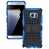 Heartly Flip Kick Stand Spider Hard Dual Rugged Shock Proof Tough Hybrid Armor Bumper Back Case Cover For Samsung Galaxy Note 7 - Power Blue