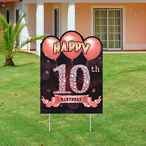 Excelloon 10th Birthday Yard Sign Decorations for Girls, Happy 10 Year Old Birthday Party Lawn Sign Supplies, Rose Gold Ten Year Old Birthday Yard Decor with Stakes