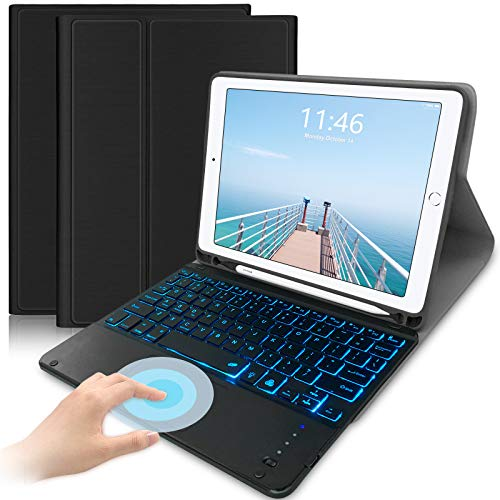 Lachesis iPad 9.7 Keyboard Case with Trackpad for iPad 9.7(2018/2017)/iPad Air 2 & 1 with 7 Colors Backlit Wireless Bluetooth Keyboard Compatible With iPad 9.7 Tablet,Black