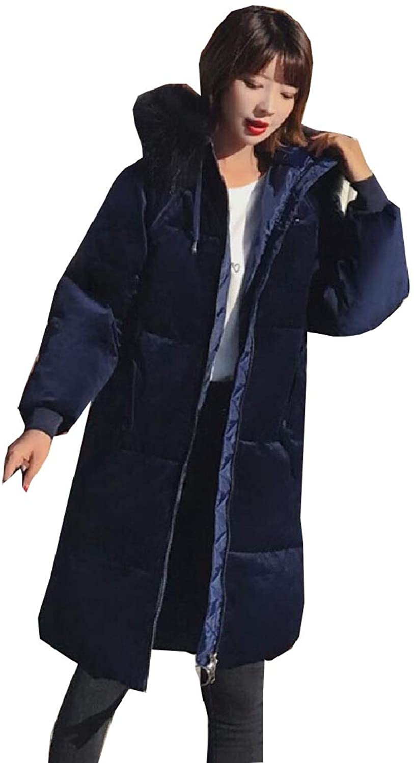 Maweisong Womens Thick Long Sleeve Velvet Faux Fur Collar Hoodie Down Coat