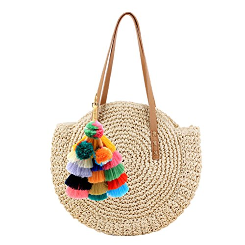 NATURAL material, Eco-friendly and lightweightwheat straw material outside, Cotton Inside Round Shape with detachable colorful pompom decoration, Criss-cross hollow out solid pattern,simple and elegant 2019 fashion summer bag, casual vintage bohemian...