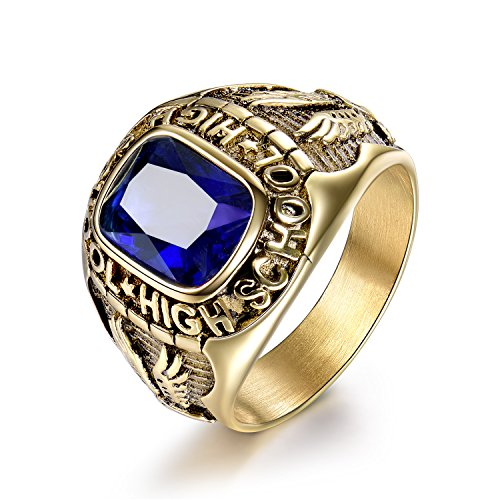 MASOP Stainless Steel Gold Color CZ Rings Engraved Eagle Graduation Gifts for Boys High School Size 12