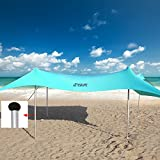 TESALATE 10×10 ft Family Pop Up Beach Shade Canopy Tent Sun Shelter,Waterproof,UPF50 UV Protection,Tent with 4 Aluminum Poles,4 Pole Anchors,4 Sandbag Anchors,Large & Portable Shelter Tarp, Turquoise