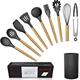 WACOOL 10 Piece Silicone Cooking Kitchen Utensil Set Tools with Wood Handles Turner Tongs Spatula Spoon BPA Free Non Toxic