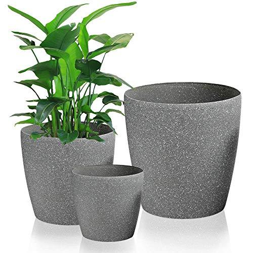 Worth Garden 3 Piezas Ø22 / 28 / 35cm S/M/L Macetas de plástico de Piedra Arenisca en Resina Jardinera Redonda Jardinera Jardinera Contenedor de Flores Gris