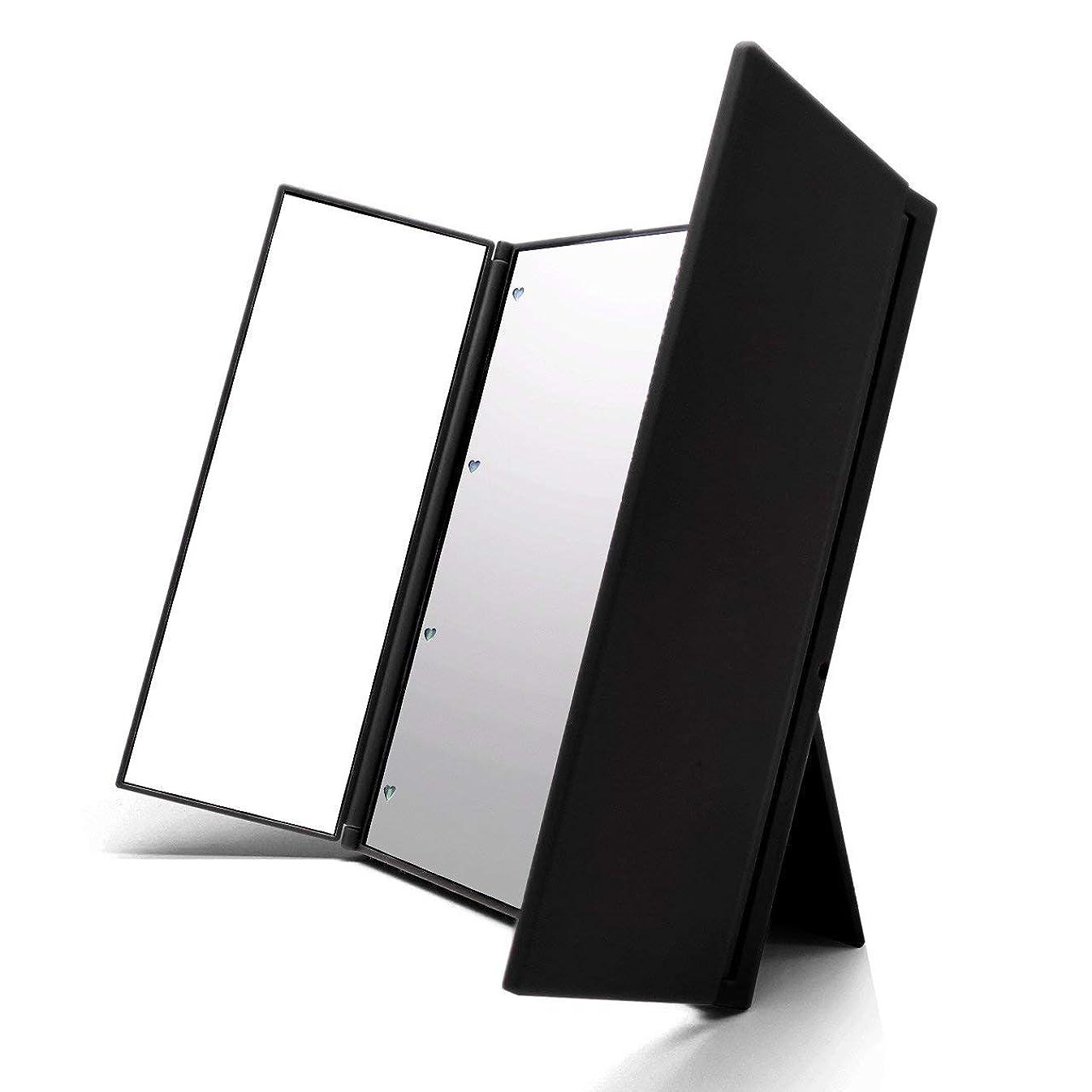 嵐ホテル上下するVidgoo 鏡 卓上 化粧鏡 スタンド LED付き 三面鏡 折り畳み式 調整可能 電池型 ブラック