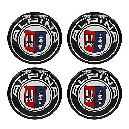 GONGYBZ 4 Uds 56mm Insignia Alpina llanta de Coche Rueda Centro Tapa de Cubo llanta Cubiertas a Prueba de Polvo Pegatina calcomanía para BMW modificación Accesorios de Coche