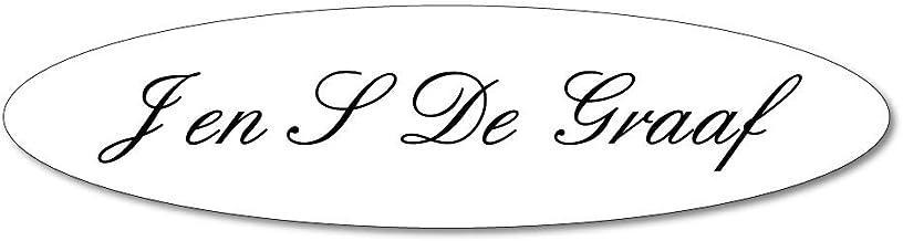 Naamplaatje wit ovaal t.b.v. brievenbus, 12x4 cm