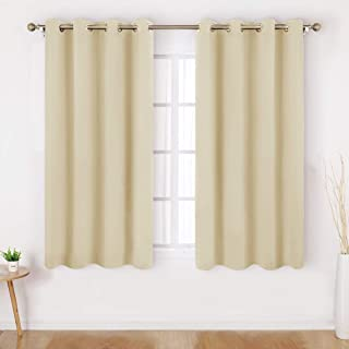 HOMEIDEAS Blackout Curtains Wide 52 X 45 Inches Length Set of 2 Panels Beige Room Darkening Curtains/Drapes, Thermal Insulated Grommet Window Curtains for Bedroom & Living Room