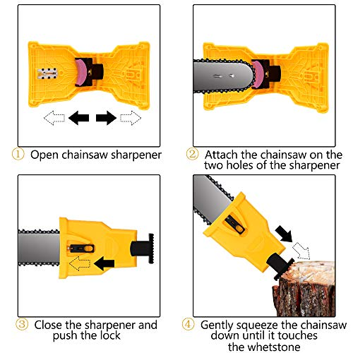 Chainsaw Sharpener Universal Chain Saw Blade Sharpener Fast Sharpening Stone Grinder Tools Bar Mounted Chainsaw Teeth Sharpener Fit for 14 16 18 20 Inches Two Holes Chain Saw Bar with total 4 Whetston