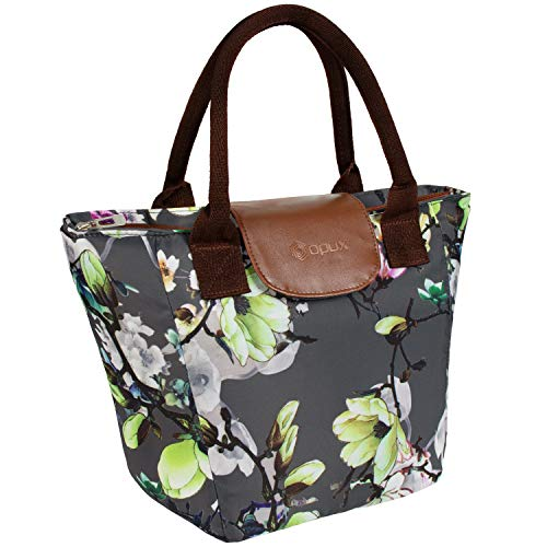 OPUX Lunch Bags for Women  Insulated Lunch Box Tote Cooler Purse for Women Large Lunch Purse for Work Office School Picnic Girls with Shoulder Strap  Fits 15 Cans Floral Gray