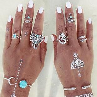 Sumanee 8PCS/Set Women's Vintage Boho Tribal Ethnic Turquoise Ring Hippie Gothic Jewelry:Dailyvideo