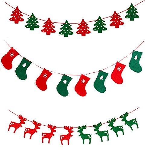 Fancyus Guirlande avec Arbres, Chaussettes, Renne pour Sapin de Noël, décoration de Noël